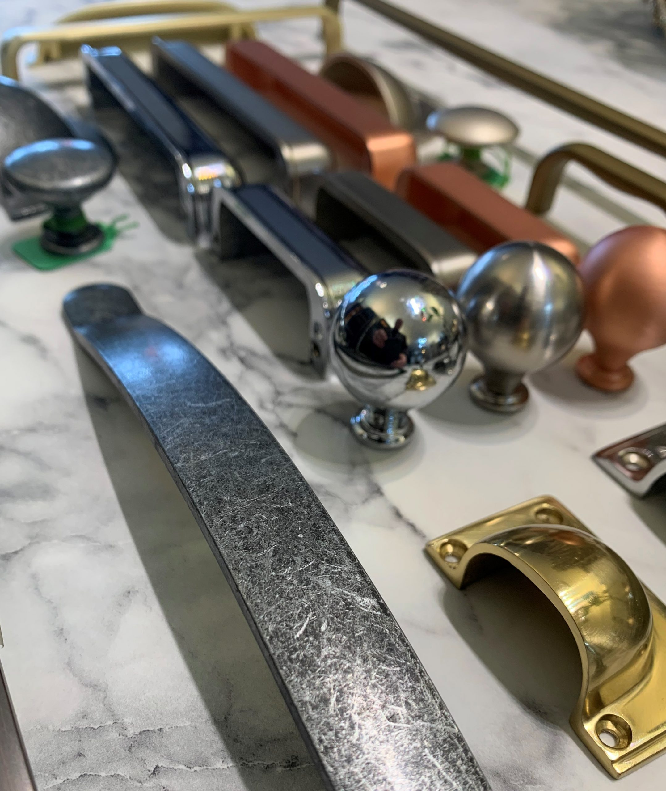 kitchen handles in a variety of metallic finishes